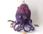 Felted  purse cosmetic Purple octopus squid under 75