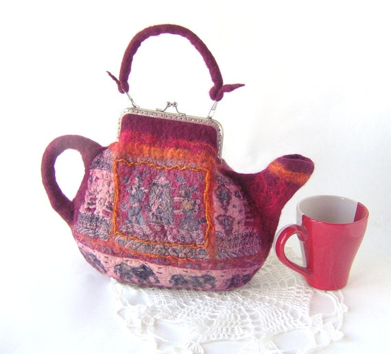 Felted purse teapot India Burgundy dark red handbag