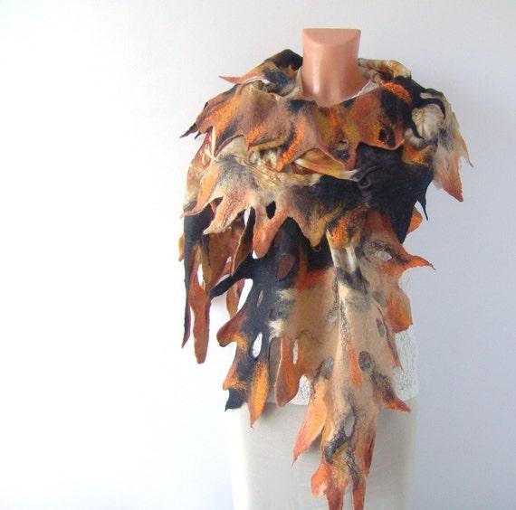 Nuno felted scarf  Fall dark black brown Autumn gift under 75