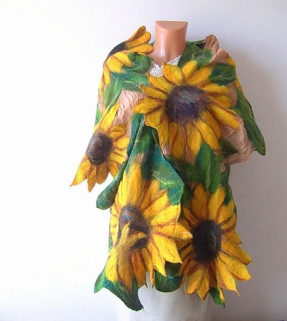 Nuno Felted scarf   Sunflower yellow green flower autumn