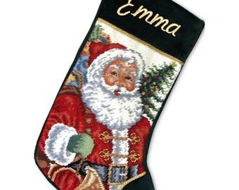 Personalized Needlepoint Stockings - Santa