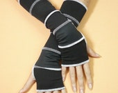 SALE Black and White Armwarmers Thumb Hole, Dance, Hipster Upcycled Look Segmented Gloves in Op Art Style, Punk Emo, Vagabond,Hipster