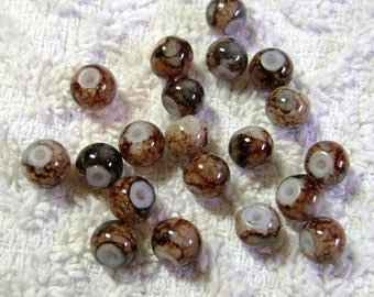 Brown Glass Marbled Beads (8mm) - (20 Pcs) - B-925