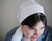 Last One! Store Closing! LINEN  Snood -- Headcovering -- 100% White LINEN  snood Head Cover tichel