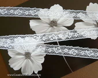 """4 3/8 Yards - Cotton Lace - Dainty  Narrow Lace Insertion - French Heirloom Lace - Tiny Doll Clothes Lace  - WHITE - 7/16"""" wide - No. 257"""