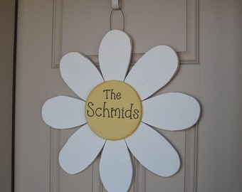 """LARGE 24"""" Hanging PERSONALIZED DAISY door, wall hanging, girl bedroom or home decor"""