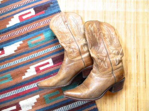 vintage. Butterscotch Brown Leather Cowboy Boots // 10 Womens // 7.5 Mens // UNISEX