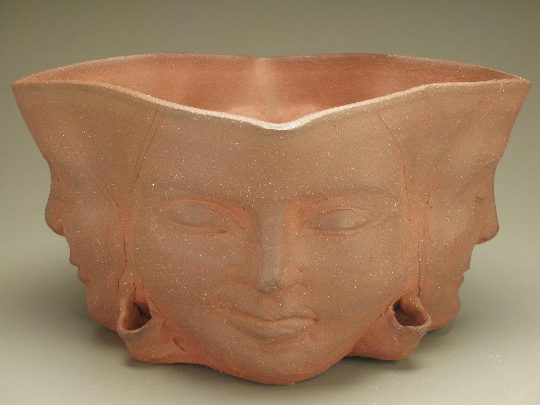 Insight Planter Four Winds Faces Flower Pot Buddha Sculpture