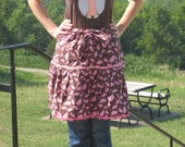 Handmade 100% Cotton Brown and Pink Black Eyed Susan Pattern Half Ruffle Hostess Apron with Rick Rack Trim and Pocket