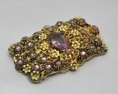 Art Deco Brooch Vintage Amethyst Rhinestone 1930s Czech Jewelry