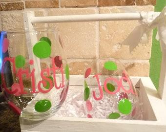 Handpainted Stemless Wine Glass