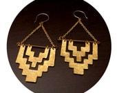 Aztec Statement Earrings // Sterling silver Golden Brass Metalwork Dangle