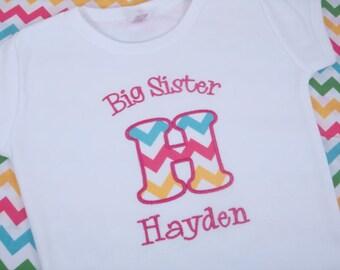 Big Sister Shirt - Big Sister T Shirt - Big Sis Shirt - Big Sis Top - Personalized Big Sister Shirt - Rainbow Chevron Sister shirt