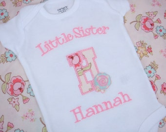 Little Sister Shirt - Sisters Shirt - Big Sister Little Sister - Little Sister Shaggy Rose -Shaggy Rose Initial Sister shirt
