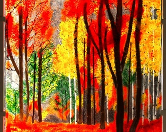 Autumn Fused Glass Forest - Home Decor -  Woodland-Custom Made