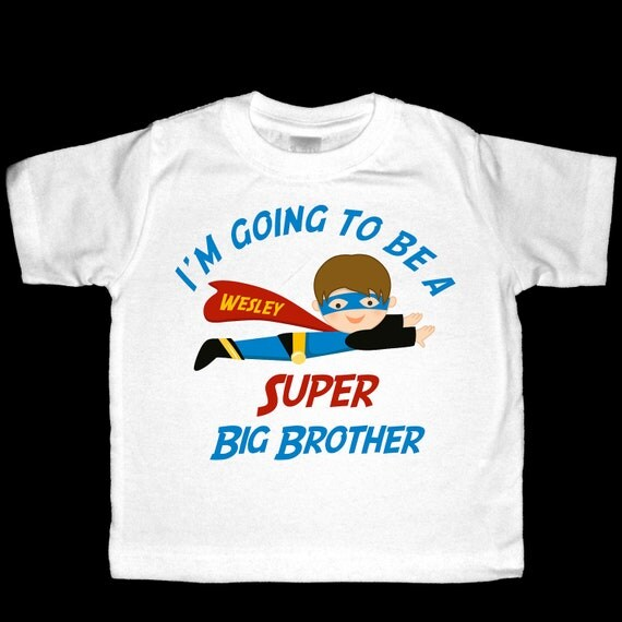 Personalized I'm going to be a Super Big Brother Announcement Shirt or Bodysuit - Customized to look like your child