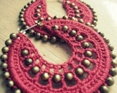 Crocheted hoops in coral and gold