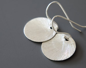 Sterling Silver Disc Earrings - Simple Earrings - Dot Earrings - Sterling Silver Discs - Everyday Earrings - Brushed Discs