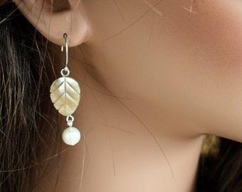 Shell Leave Earrings - Simple Earrings - Carved Shell Earrings - Pearl Dangle Earrings - Sterling Silver Earrings - Leaves Earrings