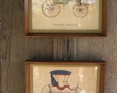 Antique Pictures w/ Frame English Phaeton & Light Barouche Carriages Copyright 1952 NY