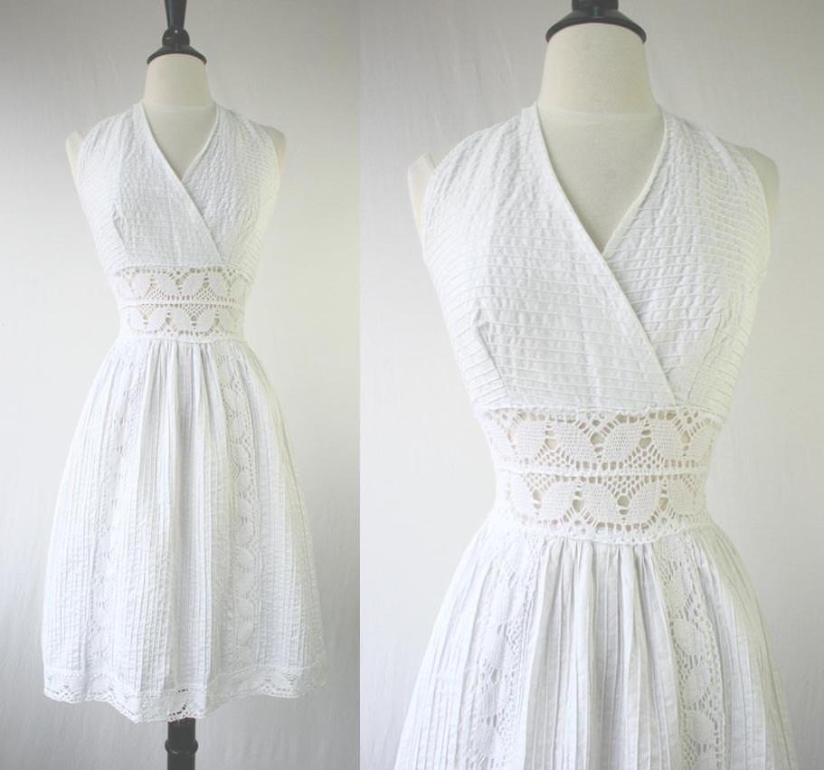 Vintage 60s Dress White Halter Sundress Mexican Wedding