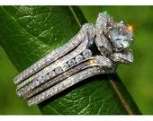 Wedding SET - Gorgeous UNIQUE Flower Rose Diamond Engagement Ring and Wedding band set - 2.85 carats - 14K white gold - custom made - fL01-S
