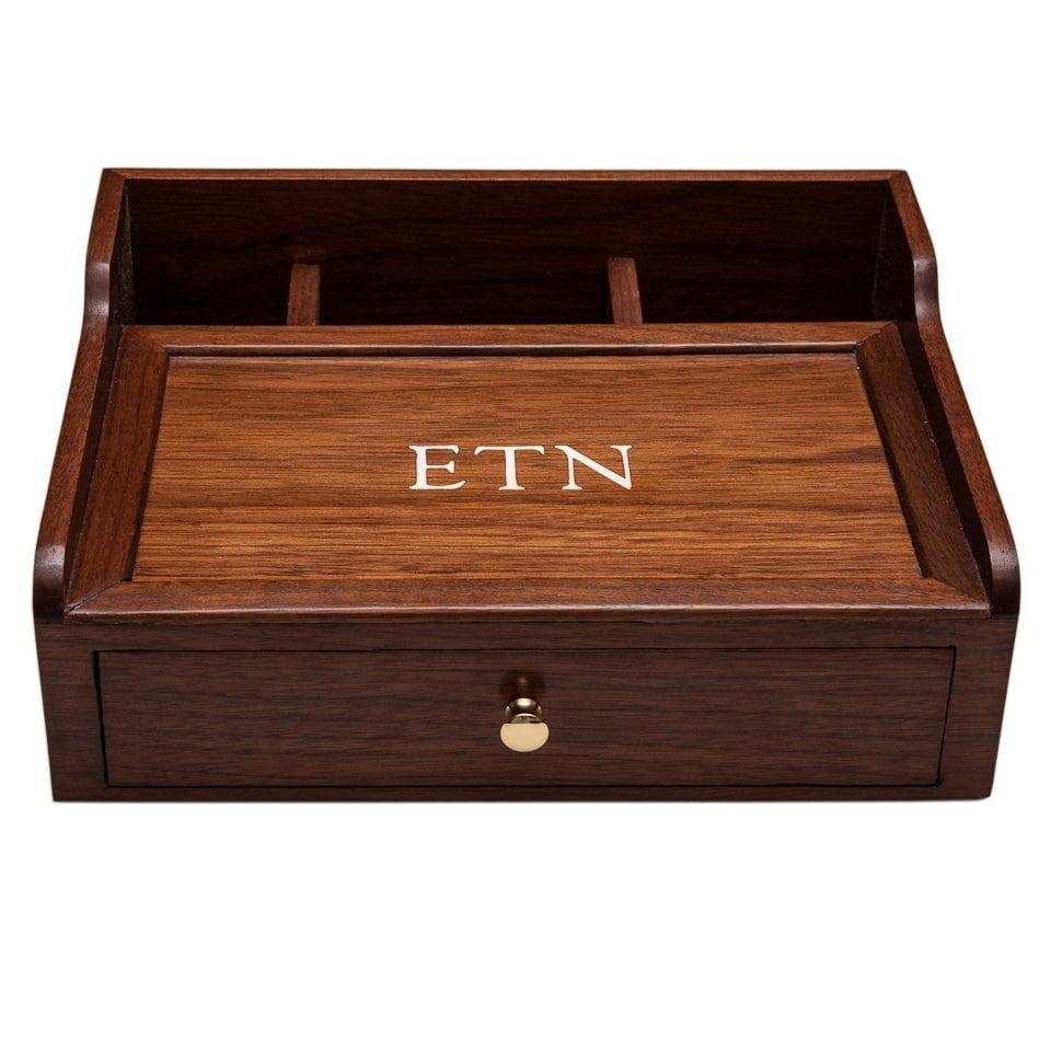 Desk Box Dresser Box Mens Valet Desk Organizer Walnut