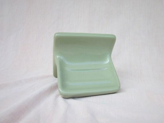 Avocado Green Retro Vintage Ceramic Tile Soap Dish Soap Holder