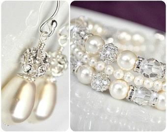 Bridal Jewelry SET, Art Deco Bridal Jewellery SET, Bridal Cuff Bracelet and Earrings SET, Swarovski Elements