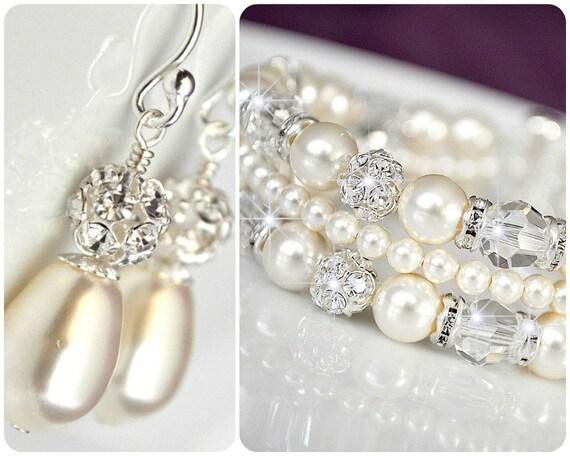Bridal Jewelry SET Art Deco Bridal Jewellery SET Bridal Cuff