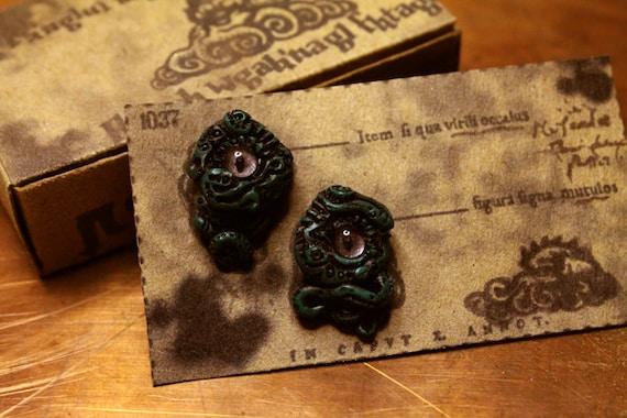Lovecraft Inspired Earrings Dark Green