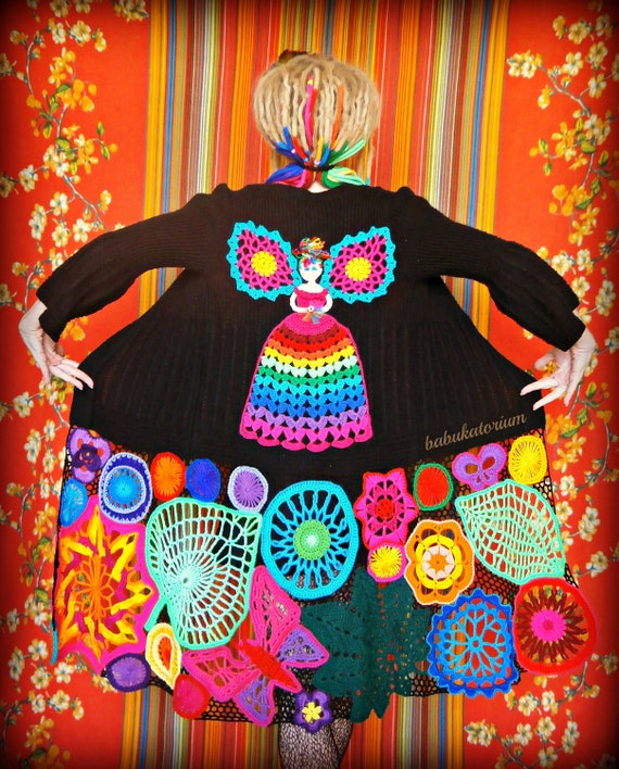Fairy Princess In The Enchanted Forest - Irish Lace Upcycled Rainbow Hippie Crochet Sweater Coat - RESERVED