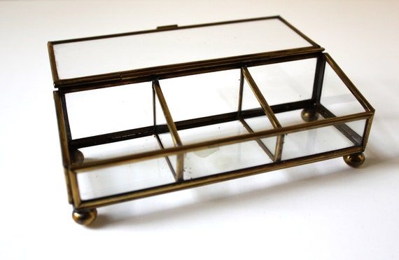 Rectangular Three-Compartment Vintage Glass and Brass Case works great as a tiny terrarium or planter for succulents