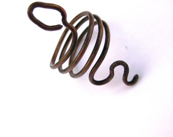 Snake Ring Antique Copper Serpent Wrapped Wire Work Size 5.5 Rustic Primative
