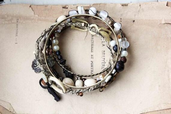 Ethnic chic Bracelets ivoire blanc naturel inspiration ethnique lot de 7 bracelet bobo chic
