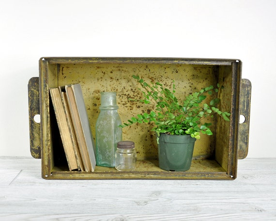 Vintage Stackable Metal Storage Bin / Industrial Crate / Industrial Storage