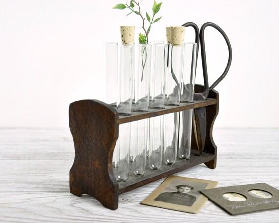 Vintage Chemistry Test Tube Rack with 10 Test Tubes / Wood
