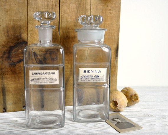Vintage Large Pharmacy Apothecary Bottle / Industrial Decor