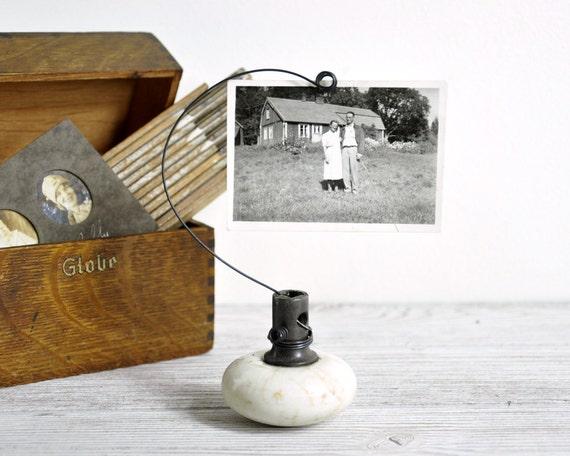 RESERVED - Vintage Door Knob Photo Holder / Wire Picture or Card Holder