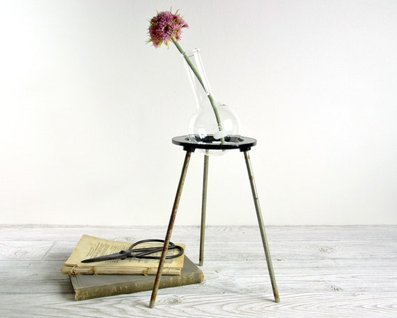 Vintage Industrial Laboratory Stand  with Flask / Industrial Decor