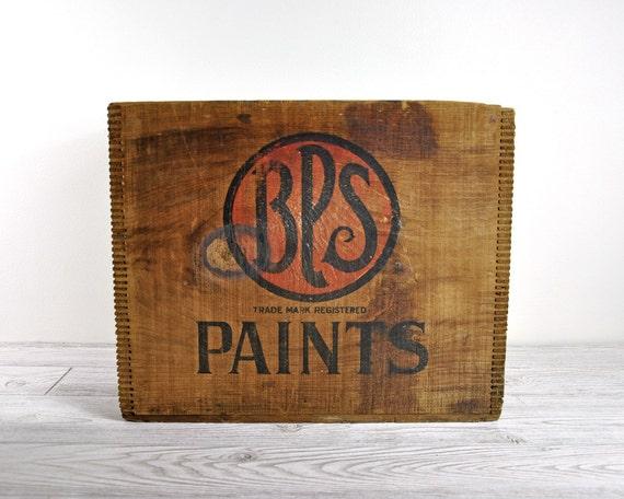 Vintage Industrial Wood Crate / Wooden Box / Industrial Storage