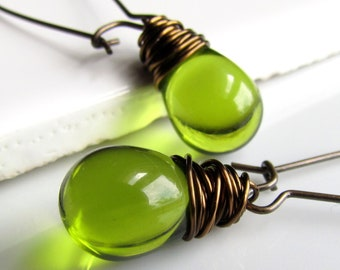 Olive Green Earrings, Moss Green Glass Earrings, Antiqued Brass Wrapped Teardrop Earrings
