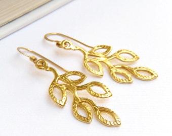 Gold Earrings, Leaf Branch Earrings, Gold Floral Earrings, Gold Leaf Earrings, Woodland Earrings, Gift for Gardener  - Woodland Gold