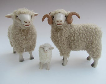 Handmade Pocelain and Wool Sheep, English Dorset Family