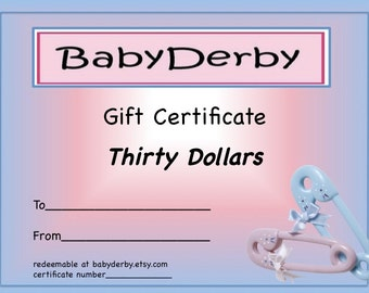 BabyDerby Gift Certificate 30.00 - Perfect New Baby Gift