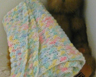 Multi-Colored Crocheted Soft Baby Blanket