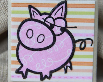 Altered Tile Magnet Cute Pig Magnet Home Decor
