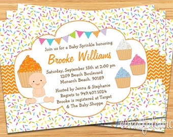 Cupcake Baby Sprinkle Shower Invitation