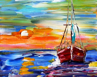Fine art Print - Sailboat at Sunset - prints from oil painting by Karen Tarlton impressionistic palette knife fine art