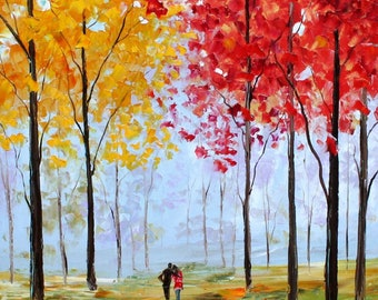 Fine art Print - Autumn Melody - from oil painting by Karen Tarlton impressionistic palette knife fine art